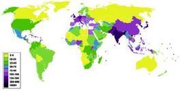 Densità della popolazione mondiale oggi. Fonte: Wikipedia
