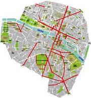 I principali assi viari creati o trasformati tra il 1850 e il 1870 nel centro di Parigi. Fonte: Wikipedia