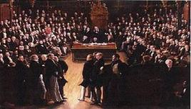 Quadro di George Hayter: l'approvazione del Reform Act del 1832. Fonte: Wikipedia
