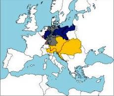 Confederazione germanica, prima dell'unificazione tedesca. In blù la Prussia, in giallo l'Impero austriaco,in grigioil resto degli stati tedeschi. Fonte: Wikipedia