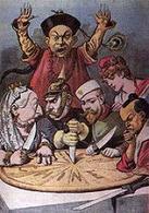 Una vignetta francese con la regina Vittoria, Gugliemo II e lo zar Nicola II che si dividono la torta della Cina. Assistono la Francia e l'imperatore del Giappone. Fonte: Wikipedia.