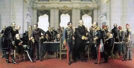 Il Congresso di Berlino del 1878 in un quadro di Anton von Werner, Bismarck al centro stringe la mano al delegato russo. Fonte: Wikipedia.