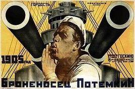 """Manifesto del film """"La corazzata Potiomkin"""" di Ejzenstein (l'ammutinamento avvenne durante la rivolta del 1905). Fonte: Wikipedia"""