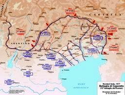 Mappa dell'avanzata austriaca e tedesca in seguito alla rotta italiana di Caporetto. Fonte: Wikipedia