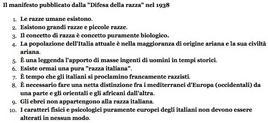"""Il manifesto pubblicato dalla """"Difesa della razza"""". Fonte: Wikipedia."""