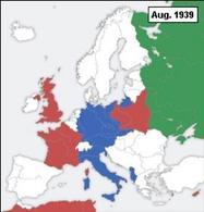 Il teatro di guerra europeo (rosso: potenze dell'Alleanza, verde: URSS, blu: potenze dell'Asse – bianco: paesi neutrali).  Fonte: Wikipedia.