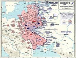 Operazione Barbarossa: schema riportante i movimenti di truppe in territorio sovietico.  Fonte: Wikipedia.