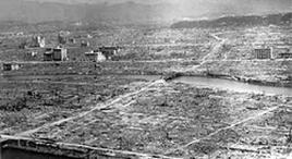 Hiroshima dopo il bombardamento atomico. Fonte: Wikipedia.