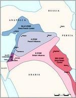 Zone di influenza in Medio Oriente nel 1916. Fonte: Wikipedia.