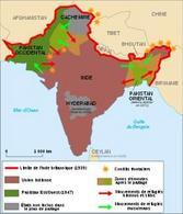 La divisione dell'India nel 1947: si noti il Pakistan con due territori molto distanti. Fonte: Wikipedia.