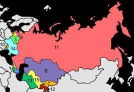 Ex Repubbliche dell'URSS: 1 Armenia,  2 Azerbaijan, 3 Bielorussia,  4 Estonia,  5 Georgia,  6 Kazakistan,  7 Kirghisistan,  8 Lettonia,  9 Lituania,  10 Moldavia,  12 Tagikistan,  13 Turkmenistan,  14 Ucraina  15 Uzbekistan. Fonte: Wikipedia.