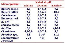 Valori di pH di alcuni microrganismi