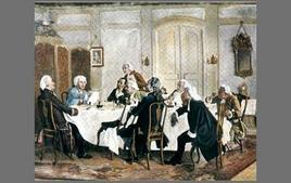 Kant und seine Tischgenossen, Gemälde von Emil Doerstling (1892/93). Tratta da: kant.uni-mainz.de