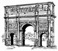 Line art drawing of an archway. Fonte: wikimedia commons