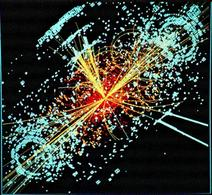 A simulated event in the CMS detector, featuring the appearance of the Higgs boson. Fonte: Wikipedia