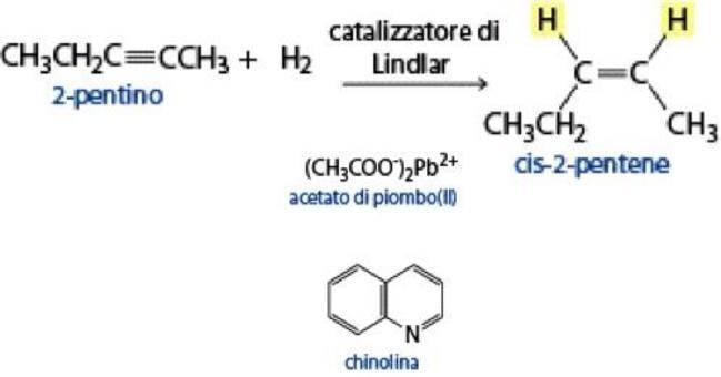 Utilizzando un catalizzatore avvelenato è possibile fermare l'addizione allo stadio di alchene
