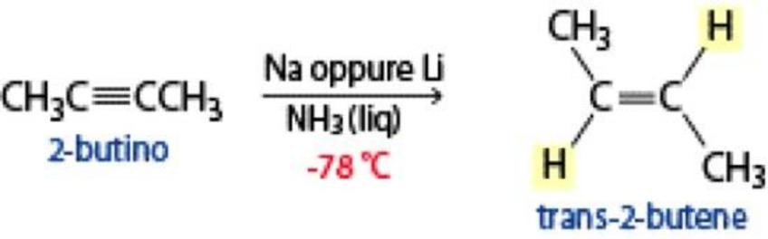 La riduzione con sodio o litio in ammoniaca liquida consente di ottenere alcheni trans