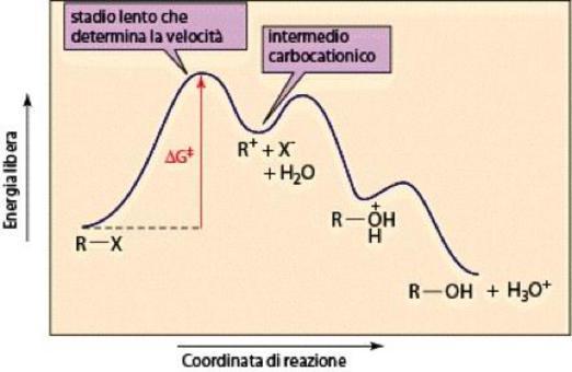 Lo stadio lento è la formazione del carbocatione