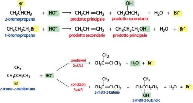 Alogenuri alchilici ingombrati in presenta di una base forte portano alla formazione di alcheni