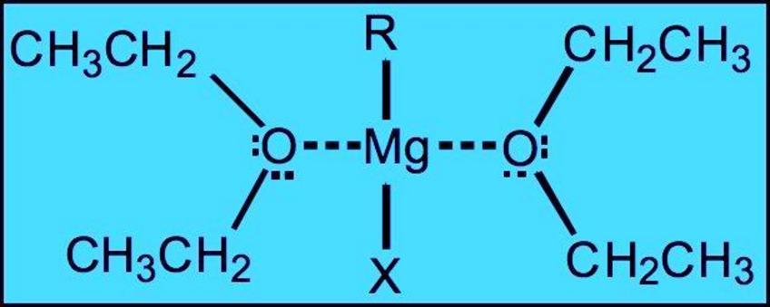 Le molecole di solvente coordinano il magnesio del reattivo di Grignard