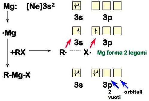 Il Mg ha 2 orbitali vuoti che possono ospitare le coppie solitarie presenti sull'ossigeno