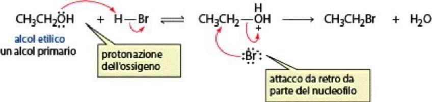 Gli alcoli primari, invece, con acidi alogenidrici subiscono reazioni SN2
