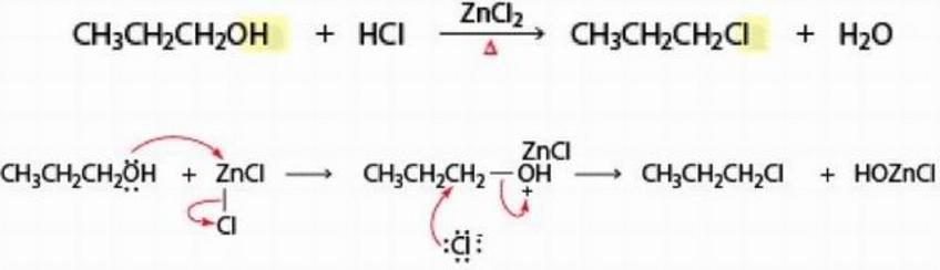 Per favorire alcune reazioni SN2 (con HCl) si può anche usare ZnCl2 (dicloruro di zinco) come catalizzatore