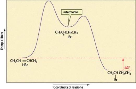Diagramma complessivo energia/coordinata per l'addizione di HBr al 2-butene